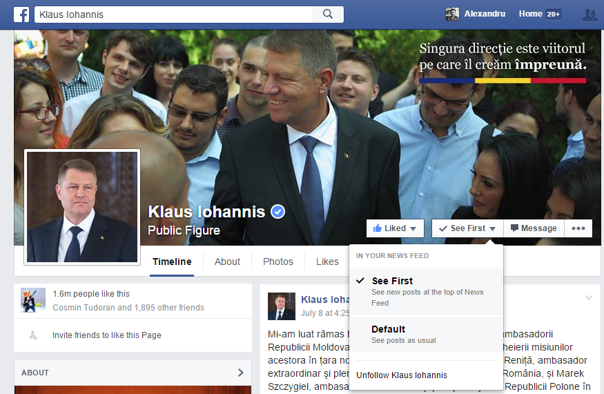 iohannis facebook page