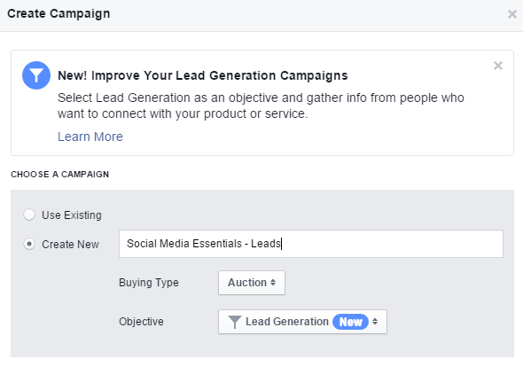 facebook lead ads - pasul 1