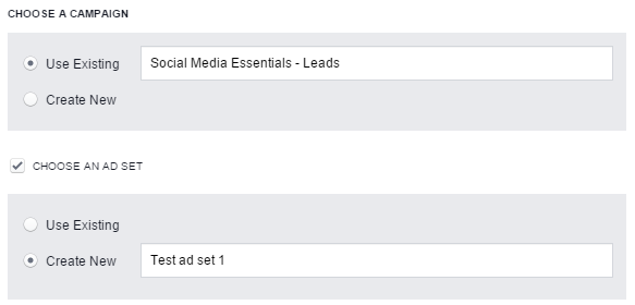 facebook lead ads - pasul 2