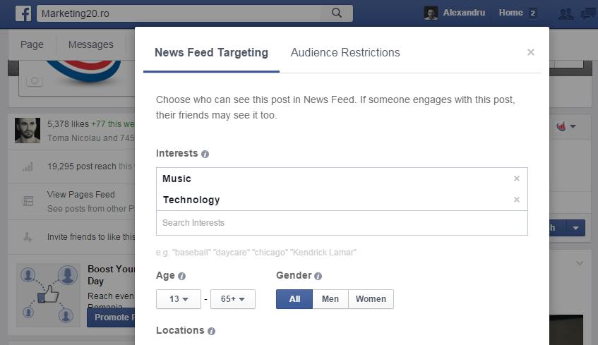 news feed audience